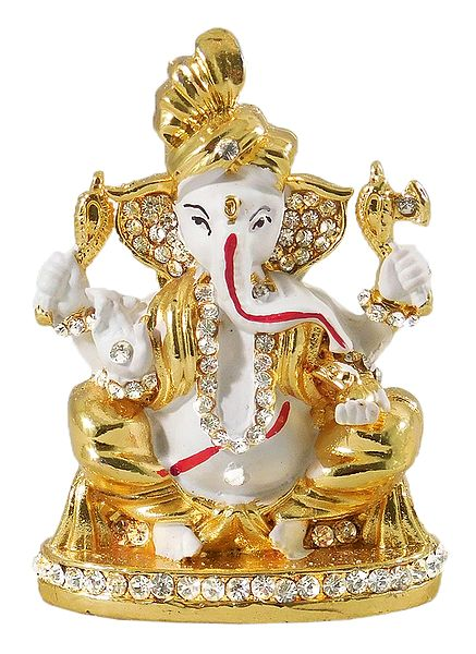 Stone Studded White Ganesha - For Car Dashboard