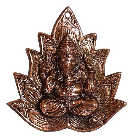 Ganesha on Lotus - Wall Hanging