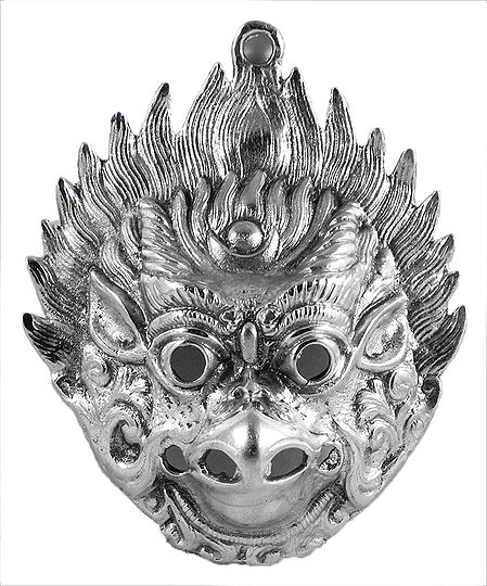 White Metal Garuda Face for Wall Decoration