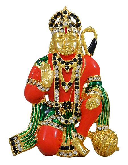 Stone Studded Multicolor Hanuman Statue