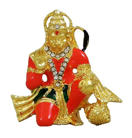 Stone Studded Hanuman - For Car Dashboard