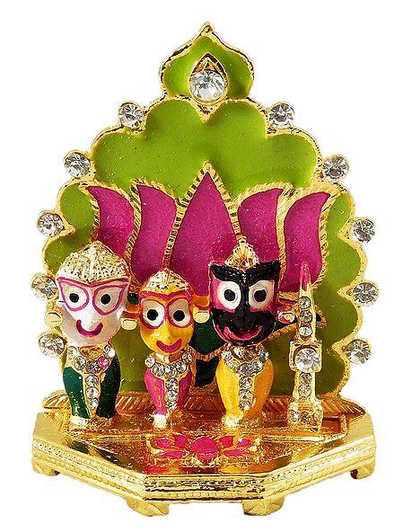 Jagannath, Balaram, Subhadra in Front of Lotus- For Car Dashboard