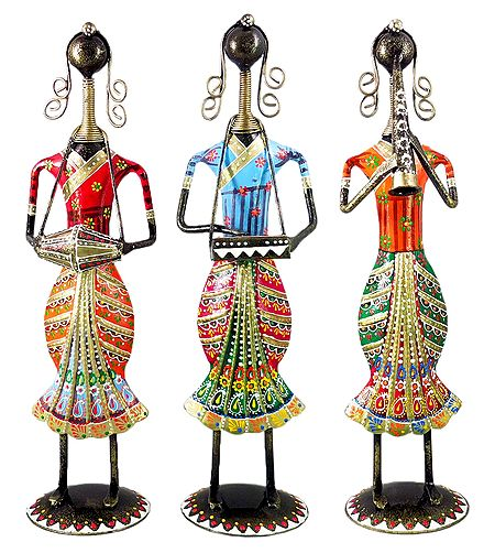 Set of 3 Multicolor Women Musicians - Iron Statue