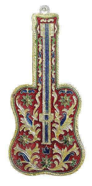 Meenakari Wooden Guitar on Metal  Foil Paper with 3 Key Hooks - Wall Hanging