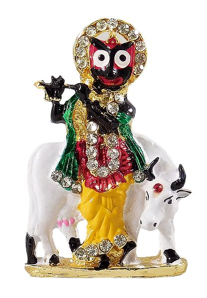 Krishna as Jagannath with Cow - For Car Dashboard
