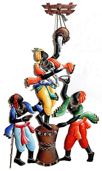 Krishna Steaing Butter with His Friends - Wall Hanging