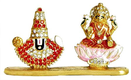 Stone Studded and Gold Plated Balaji and Lakshmi