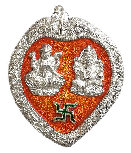 Lakshmi, Ganesha on Red Leaf - Wall Hanging