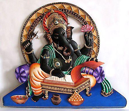 Lord Ganesha Writing Mahabharata Wall Hanging