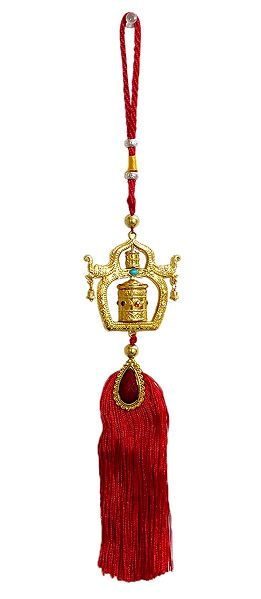 Buddhist Mane on Red Tassel - Car Hanging
