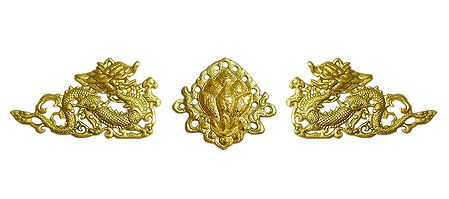 Two Golden Dragon with Flower in the Middle - Wall Hanging