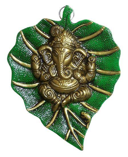Ganesha on Green Leaf - Wall Hanging