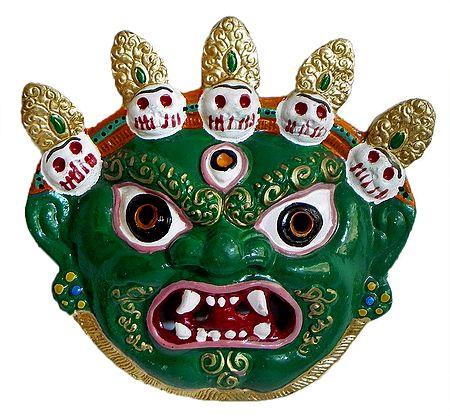 Wrathful Buddhist Deity Mahakala, the Protector of Dharma - Wall Hanging Mask