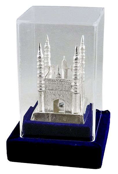 White Metal Charminar - Encased in Acrylic Case