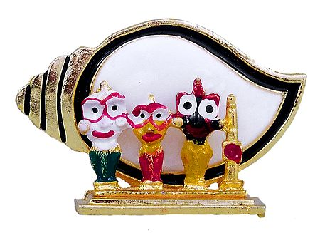 Jagannath, Balaram, Subhadra in Front of Conch- For Car Dashboard