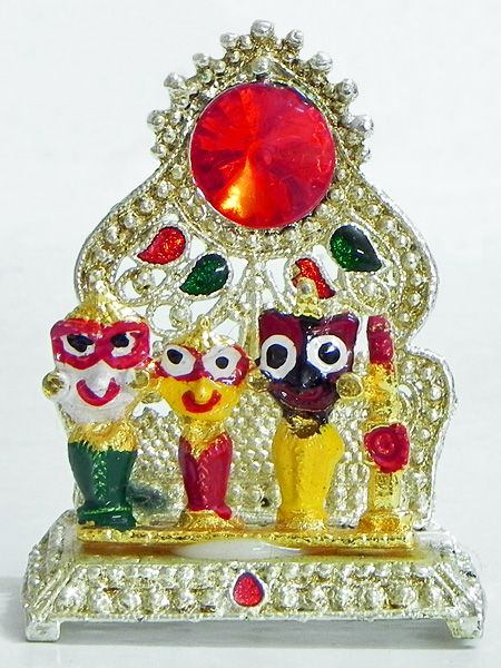 Jagannathdev,Balaram and Subhadra on a Throne