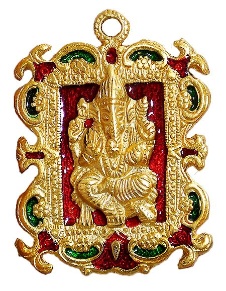 Ganesha on Laquered Golden Metal Plate - Wall Hanging
