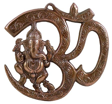 Ganesha Sitting On Om Metal Wall Hanging 8 X 8 5 Inches