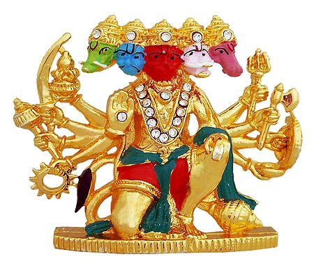 Stone Studded Panchamukhi Hanuman - For Car Dashboard