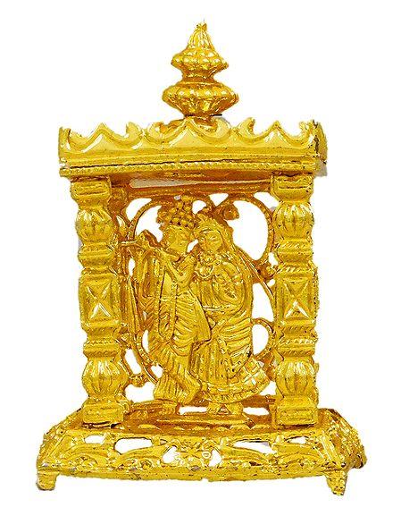 Metal Radha Krishna in Temple for Car Dashboard