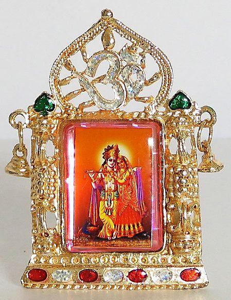 Radha Krishna In A Meenakari Frame