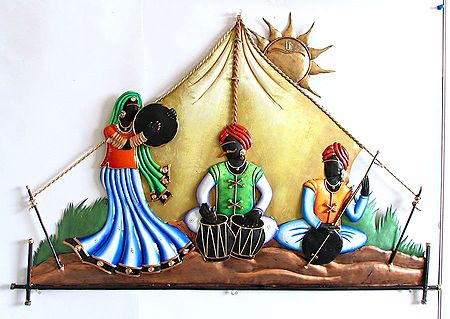 Rajasthani Musicians In The Desert Wall Hanging