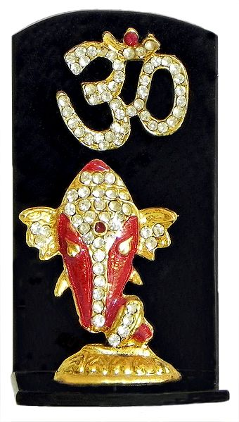 Stone Studded Ganesha with Om on Black Base