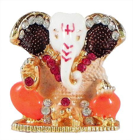 Stone Studded Metal Ganesha for Car Dashboard