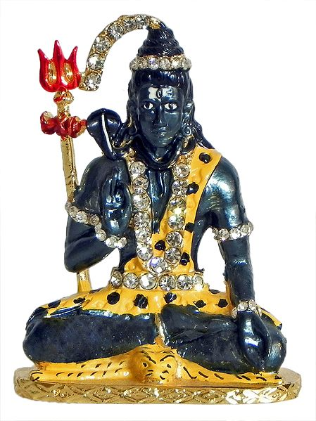 Stone Studded and Gold Plated Shiva