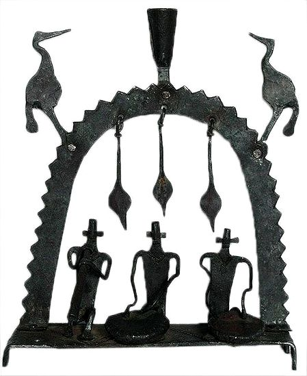 Iron Candle Stand Depicting Musicians