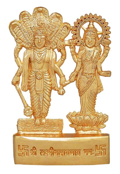 Metal Vishnu and Lakshmi for Car Dashboard