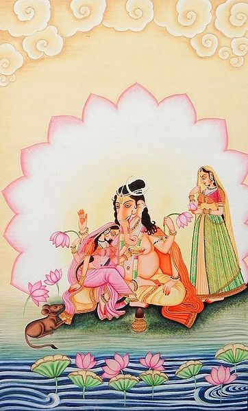 Lord Ganesha with His Two Wives, Riddhi and Siddhi
