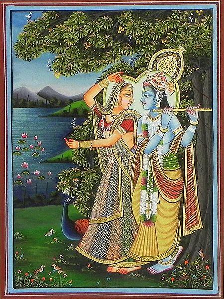 Radha Krishna Under a Veil