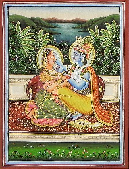 Krishna doing Radha's Shringar