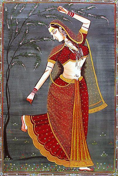 Rajput Beauty Plucking Thorn from her Feet