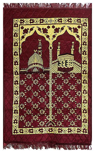 Maroon Velvet Islamic Namaz Mat