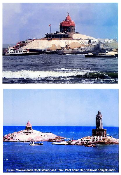Vivekananda Rock Memorial and Thiruvalluvar Statue at Kanyakumari - Set of 2 Laminated Poster