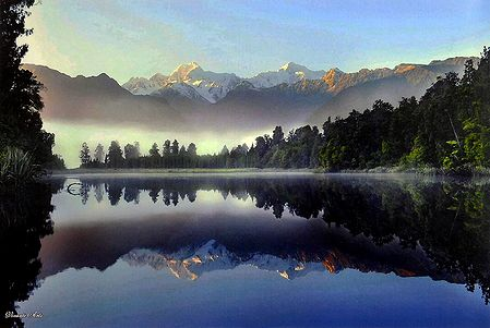 Mt. Cook Reflected in Lake Matheson, Newzealand