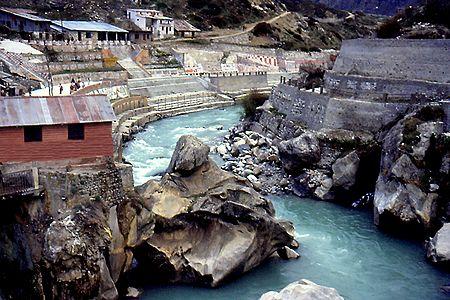 Naradshila on Alakananda River in Badrinath, Uttarakhand, India