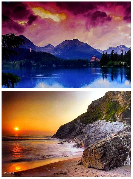 Tatra National Park, Slovakia and Sunset on the Beach - Set of 2 Posters