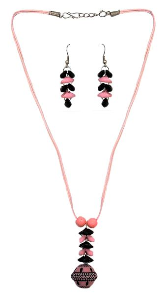 Acrylic Bead Pendant with Pink Cord and Earrings