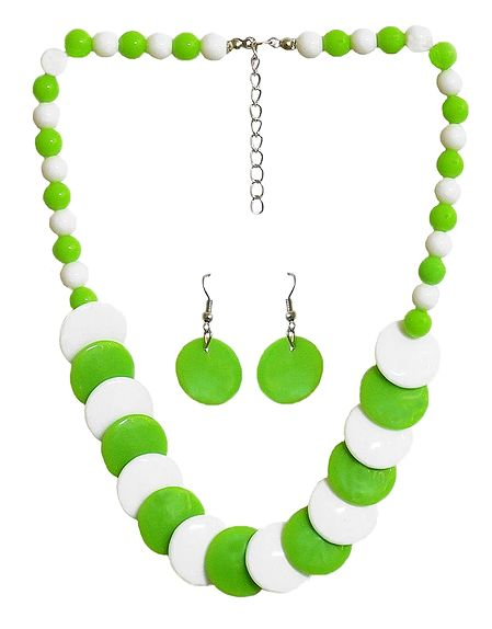 Green and White Beaded Necklace