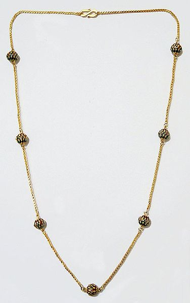 Gold Plated Chain with Lacquered Balls