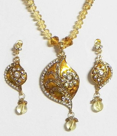 Amber Yellow and White Stone Studded Crystal Bead Necklace with Earrings