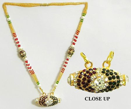 Bead Necklace with Faux Garnet and Emerald Studded Pendant
