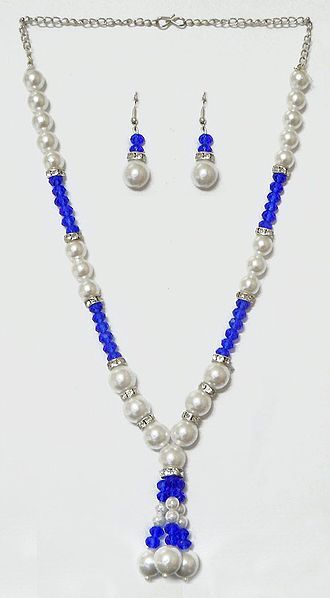 White and Blue Bead Necklace with Earrings
