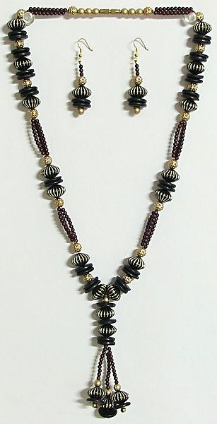 Black, Golden and Maroon Bead Necklace with Earrings