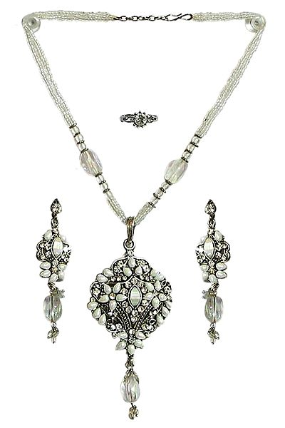 White Bead Necklace with White Stone Studded Pendant, Earrings and Ring