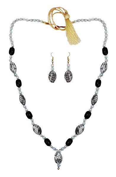 Acrylic Bead Necklace with Earrings
