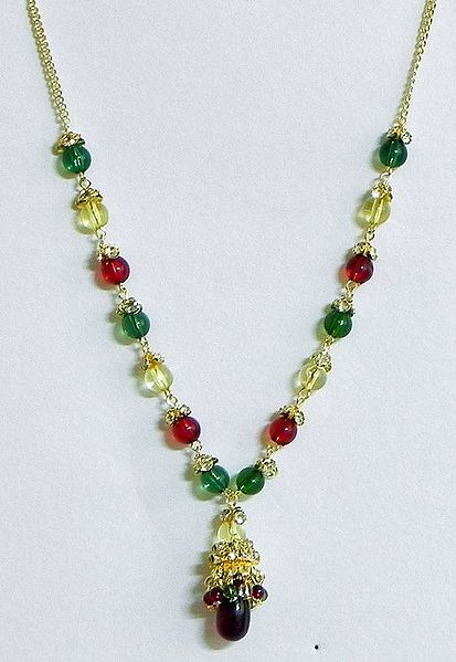Green,Red and White Bead Necklace with Earrings